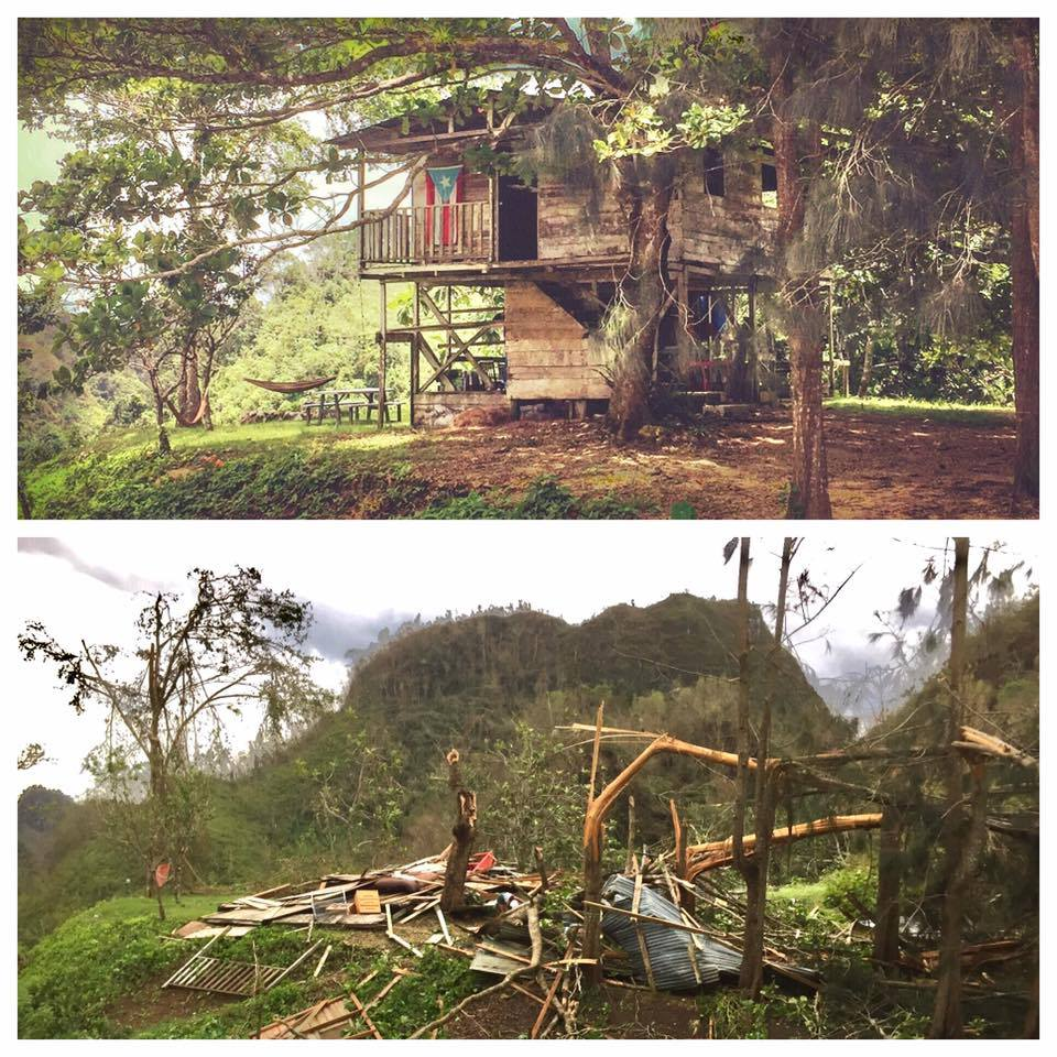 Farm 'Espiral' in El Hatillo, Puerto Rico, before and after hurricane Maria. Photo taken by its owner, farmer Waldemar Alcobas